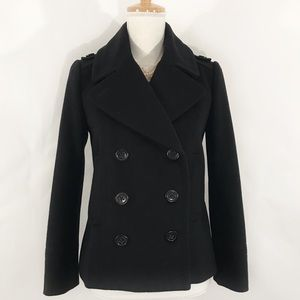J. CREW Classic Black Double Breasted Wool Peacoat